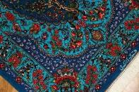 マンションサイズの玄関マット、手織りクムシルクペルシャ絨毯60044