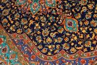 クムシルク手織りペルシャ絨毯ブルー色玄関マット75139