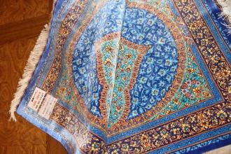 玄関マット手織りシルクペルシャ絨毯ブルー色45566