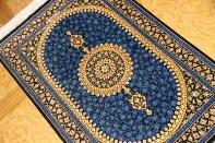 高級シルク手織り玄関マットペルシャ絨毯ゴールド75137