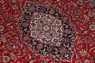 機械織りイラン製カーペットメダリオン赤い99003