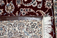 高級手織りペルシャ絨毯ナイン産赤いラグイラン製59022