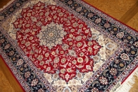 レッド手織りペルシャ絨毯ラグ50147