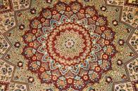 高級絹玄関絨毯のペルシャ手織りクム産50068