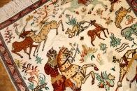 シルクのハンティングペルシャ絨毯50038