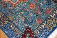 ペルシャ絨毯シルクのセンターラグブルー色60021