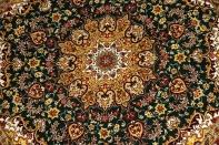 ペルシャ絨毯の丸、シルク手織りクム産地32612