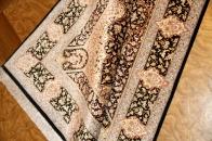 緑色のペルシャ絨毯玄関マットシルク50064