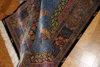 最高級手織りペルシャクムシルクラグのブルー色60013