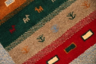 小さいギャッベの玄関マット手織りペルシャギャッベ280000