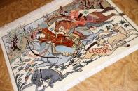 ミニペルシャ絨毯シルクハンティングデザイン50003