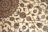 ナイン産手織りリビングサイズのペルシャ絨毯ベージュ色59033