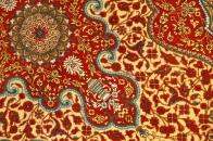 暖かい色合いのシルク玄関マットペルシャ絨毯56016